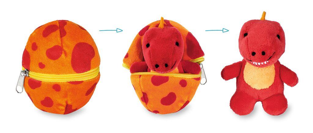 Kuscheliges Dino-Baby im Ei rot