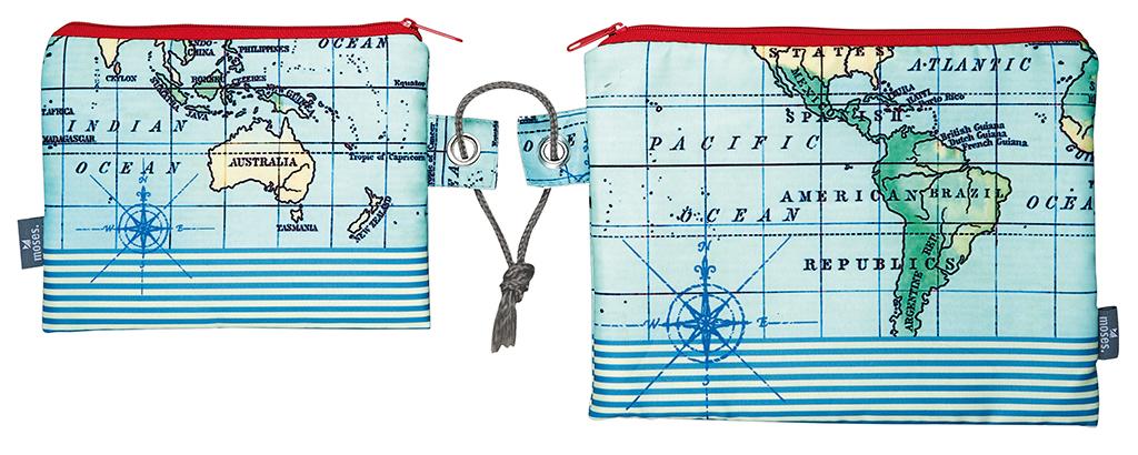 Fernweh Kleine Täschchen Weltkarte & Streifen 2er Set