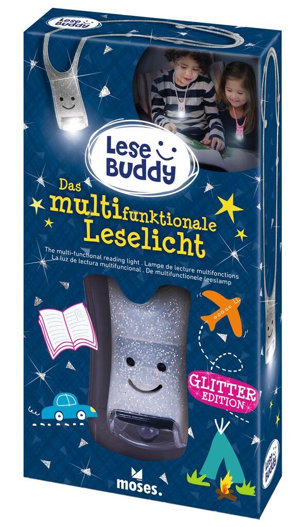 Lese Buddy - Das multifunktionale Leselicht Glitzer silber