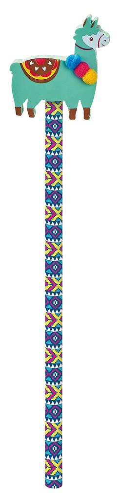 Lama-Bleistift mit Radierer türkis