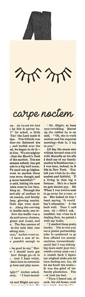 Lesezeichen mit Band Carpe Noctem