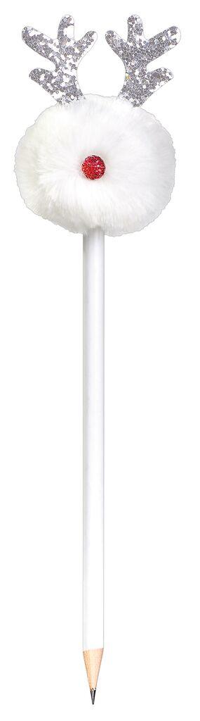 Puschel-Bleistift Rentier weiß
