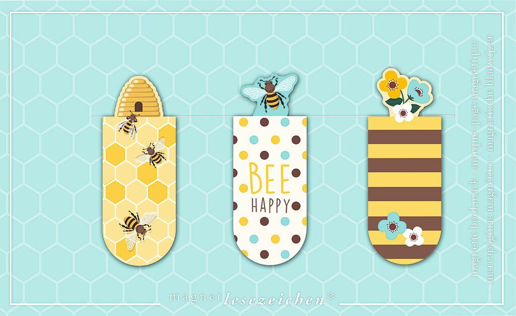 Magnetlesezeichen Bienen