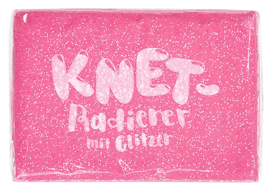 Knet-Radierer Glitzer pink
