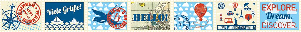 Fernweh Briefmarken Klebeband