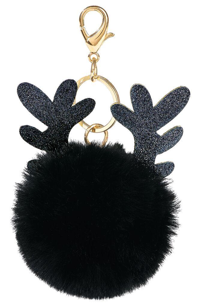 Puschel-Schlüsselanhänger Rentier schwarz