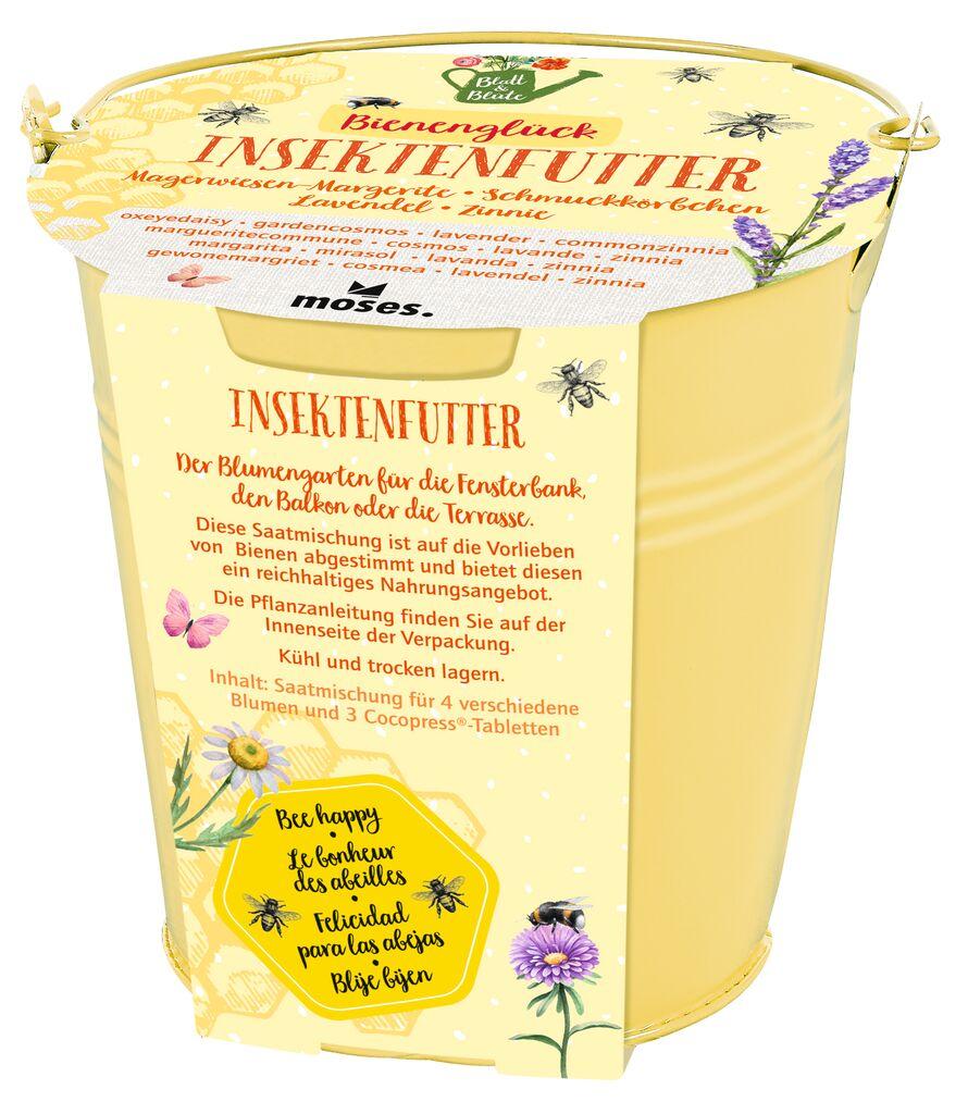 Blatt & Blüte Zinkeimer Insektenfutter gelb