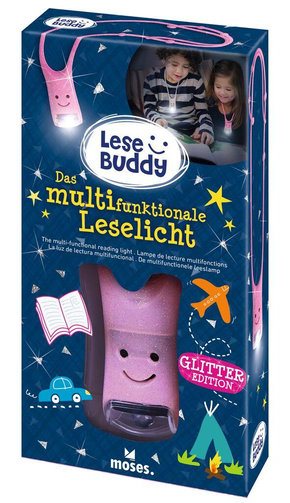 Lese Buddy - Das multifunktionale Leselicht Glitzer rosa