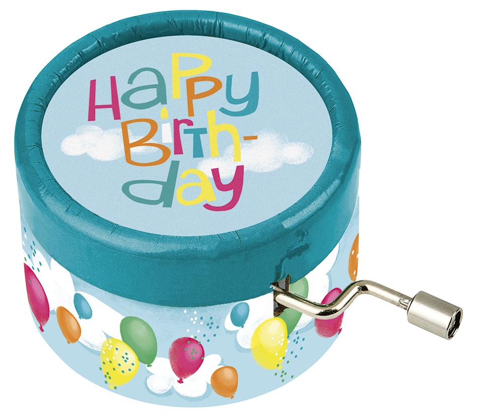 Spieluhr Happy Birthday blau
