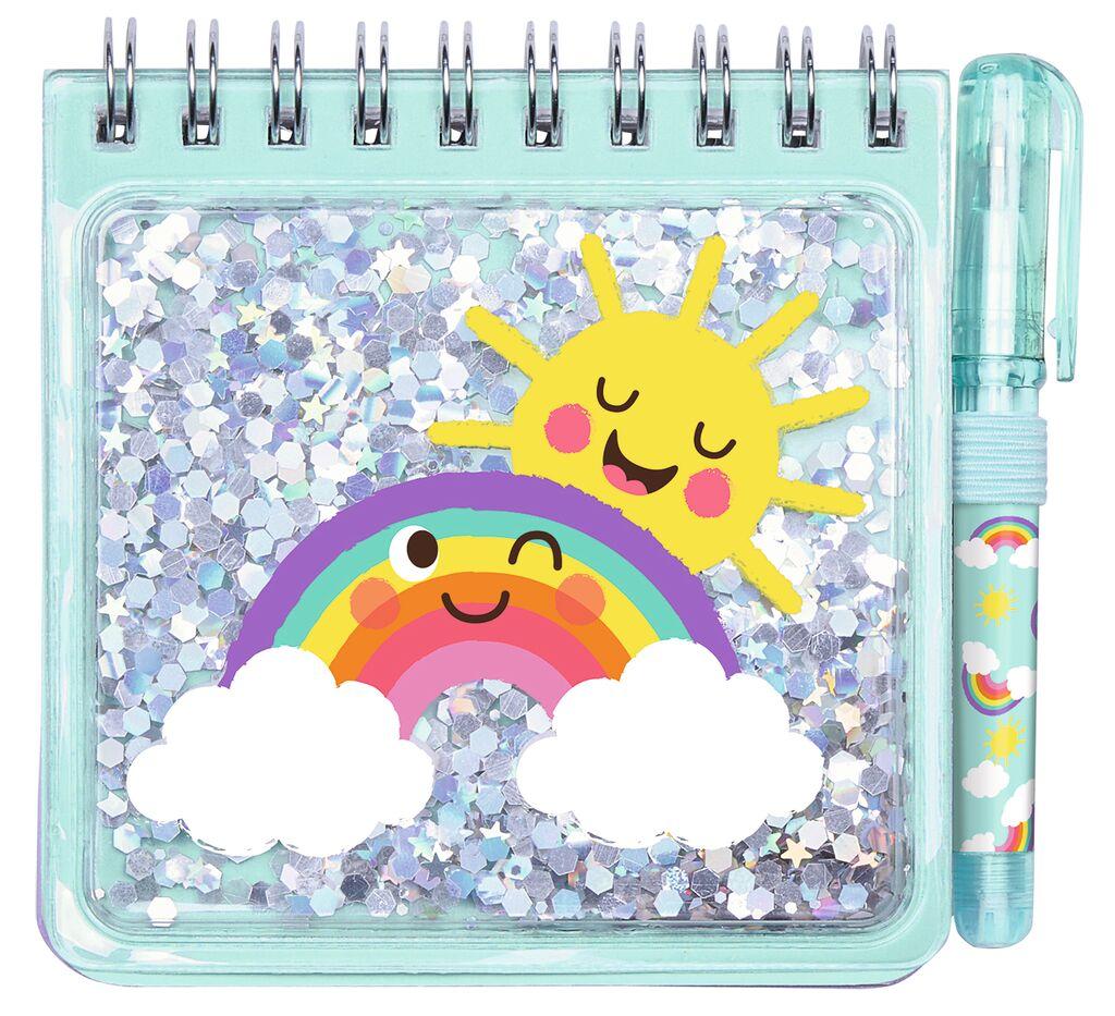 Be happy Notizset Funny Glitter hellblau