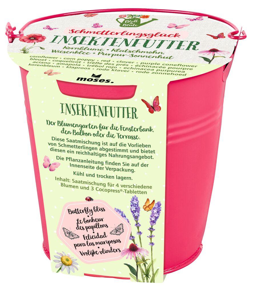 Blatt & Blüte Zinkeimer Insektenfutter pink