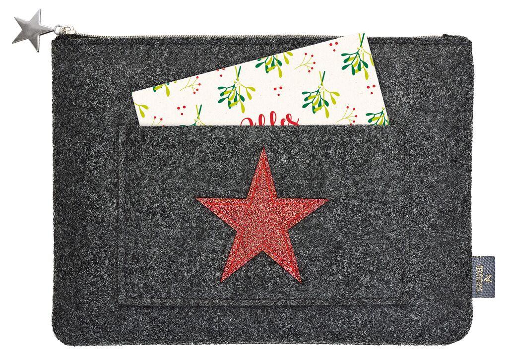 Filz Täschchen mit Stern schwarz