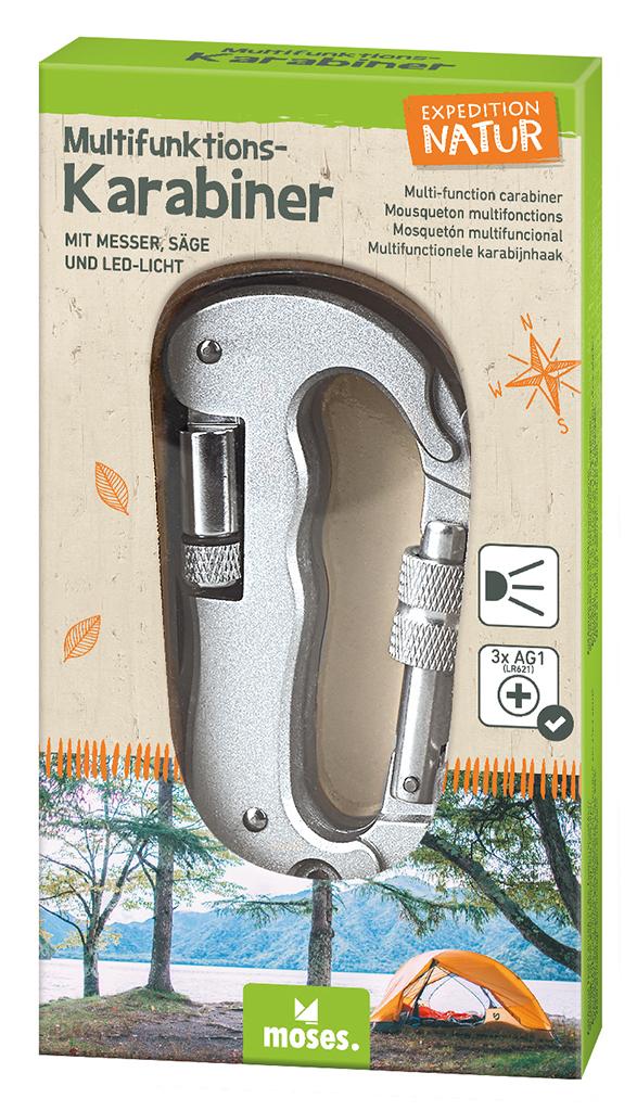 Expedition Natur Multifunktions-Karabiner mit Messer, Säge und LED-Licht