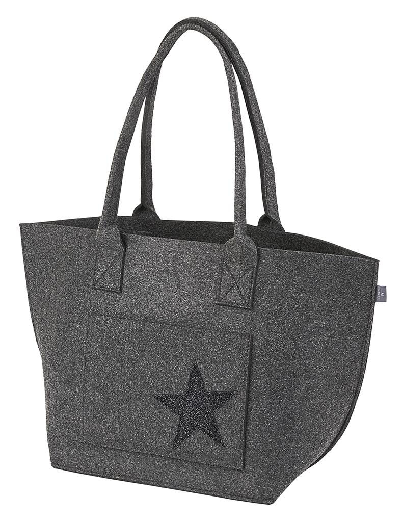 Filz Tasche Stern schwarz