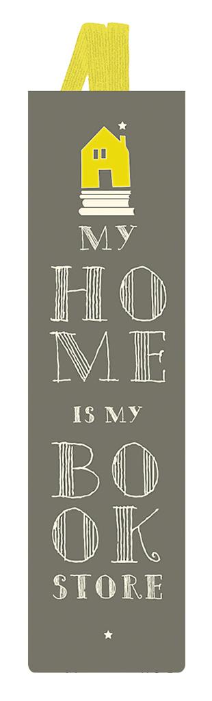Lesezeichen mit Band My home is my bookstore