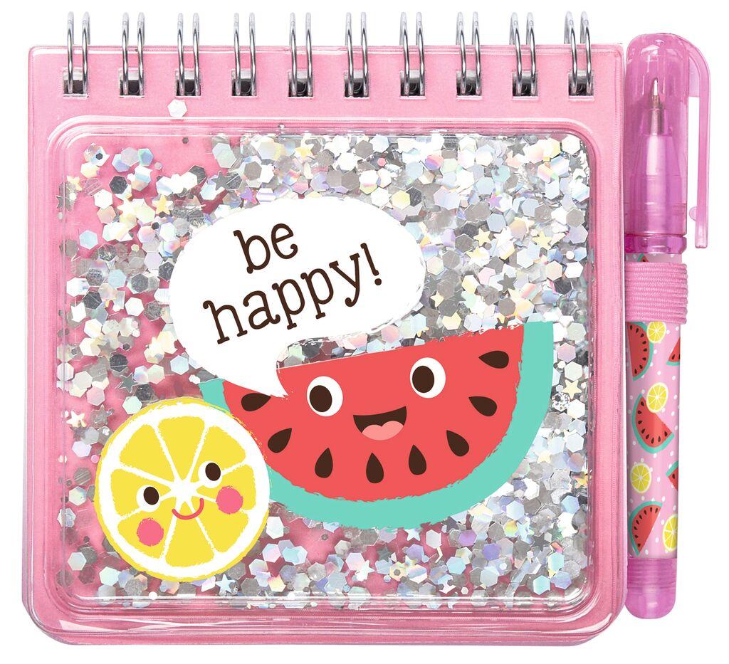 Be happy Notizset Funny Glitter rosa