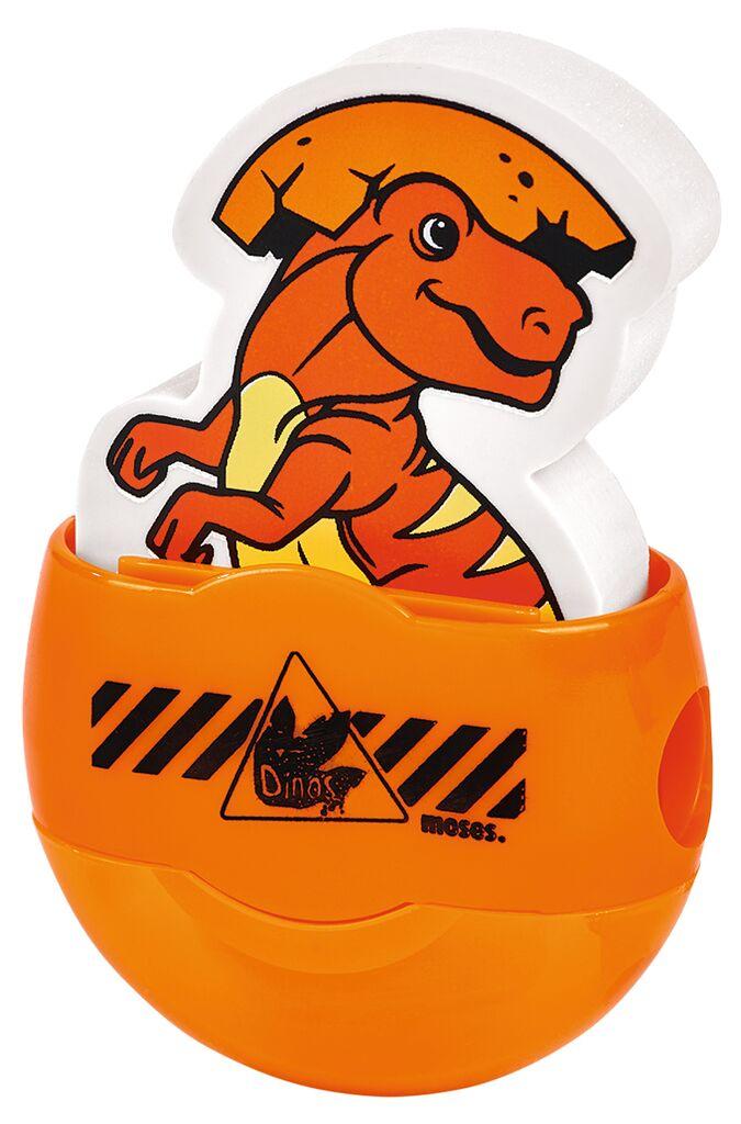 Anspitzer & Radierer schlüpfendes Dino-Baby orange