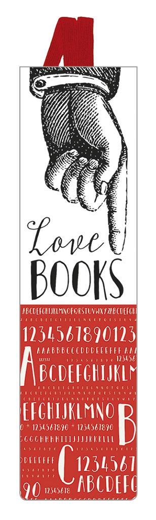 Lesezeichen mit Band Love BOOKS