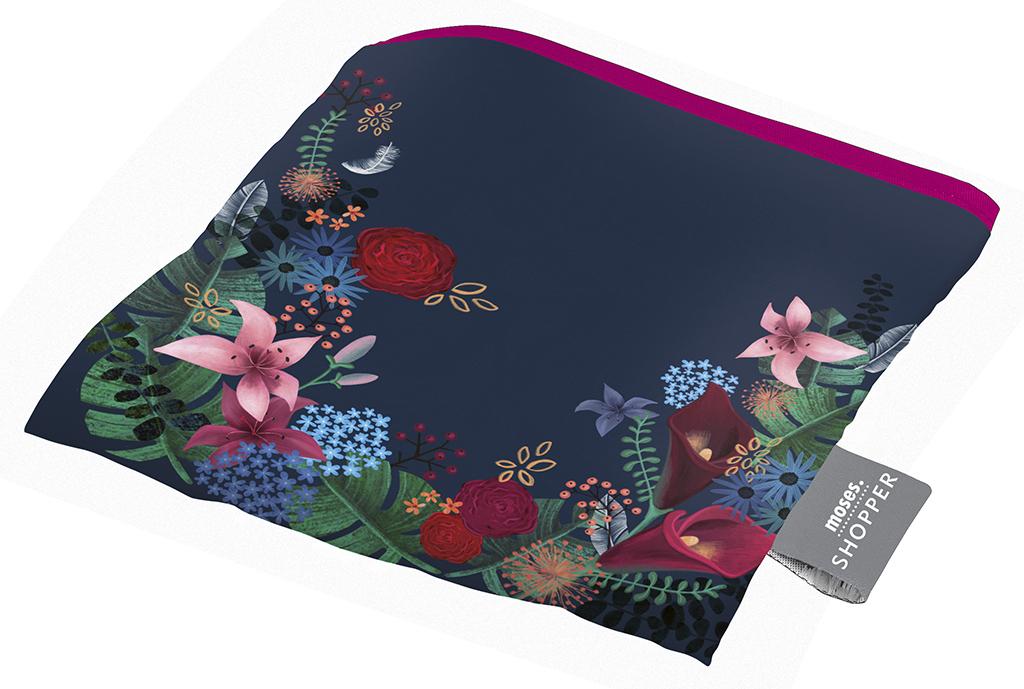 moses. Shopper Dark Flower, faltbare Einkaufstasche