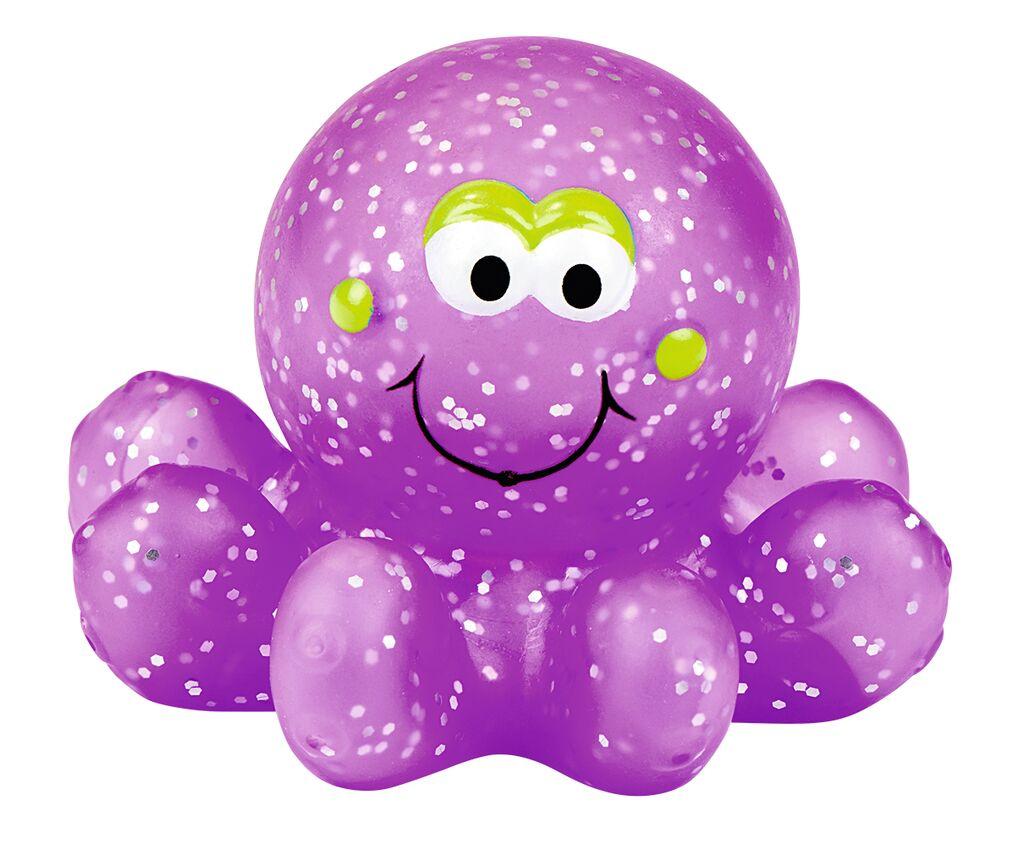 Leuchtender Glitzerkraken für die Badewanne violett