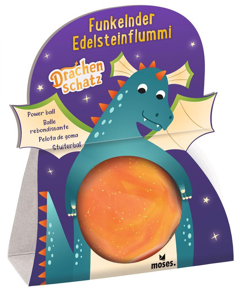 Funkelnder Edelsteinflummi Drachenschatz orange