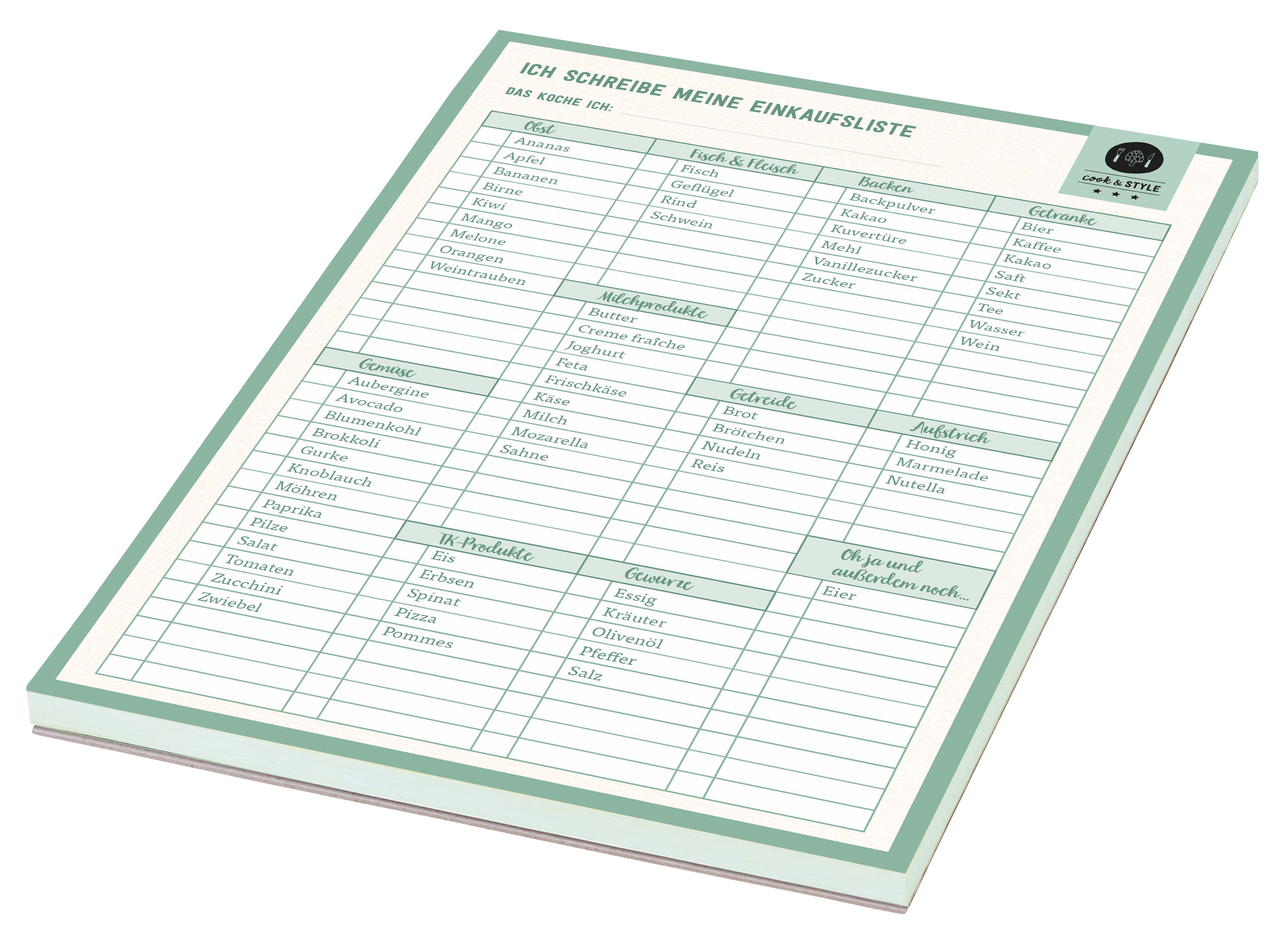cook & STYLE Meine Einkaufsliste Notizblock