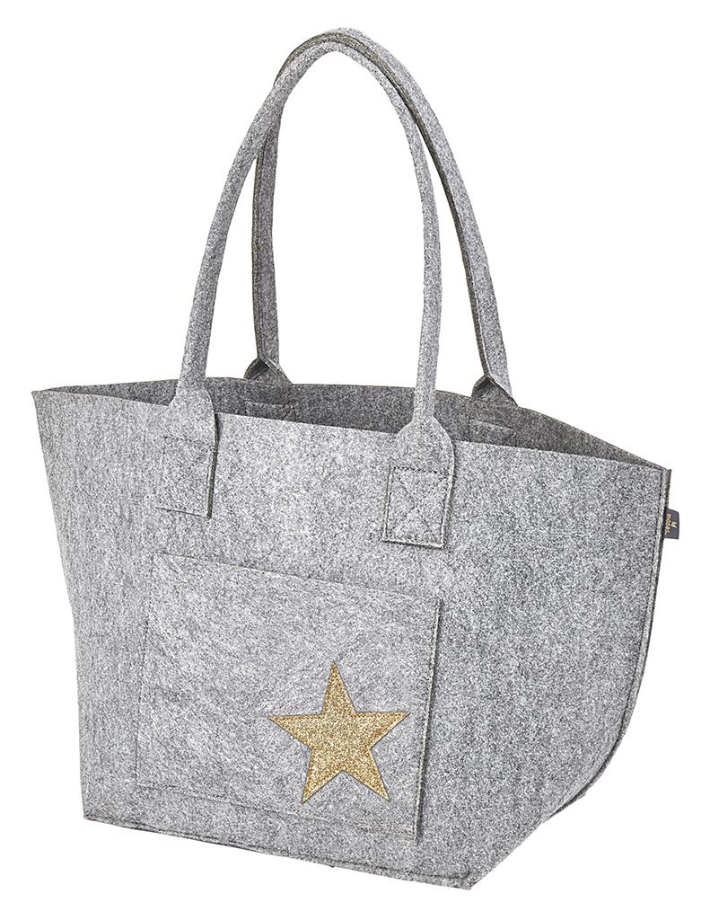 Filz Tasche Stern grau